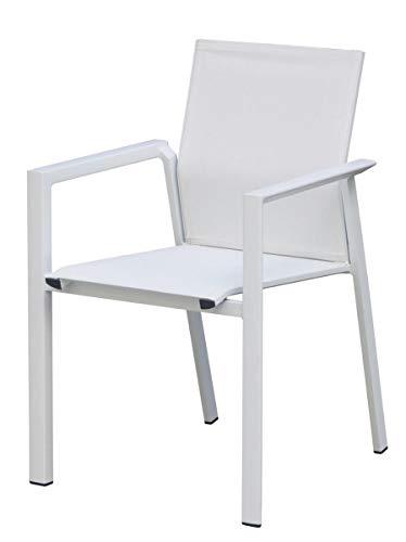 Juego de 4 sillas de bar y jardín de aluminio blanco con asiento de textileno con reposabrazos, sillas para exteriores apilables