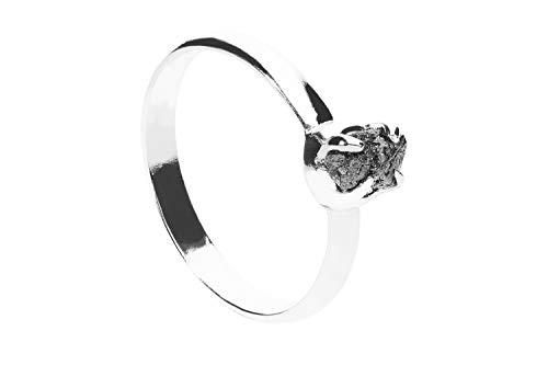 1001Kristall Anillo (talla 60) de 19 mm, interior de plata de ley rodiada con diamante gris en bruto.