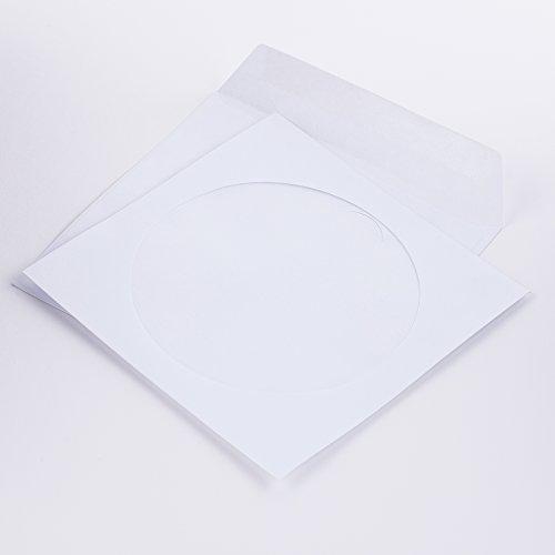 Papierschutzhüllen für CD/DVD/BLURAY weiß 125 x 125 mm 80 g/m² mit Fenster nassklebend mit Faltverschluß (201070) (1000)