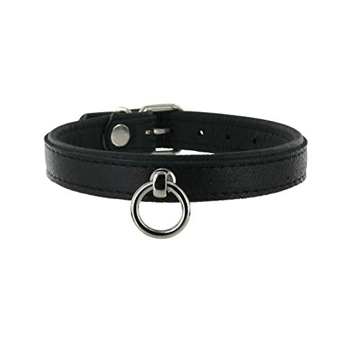 SiaLinda: Halsband echtes Elch Leder mit O-Ring, zweifarbig, schwarz/schwarz 20mm breit - Lange Länge