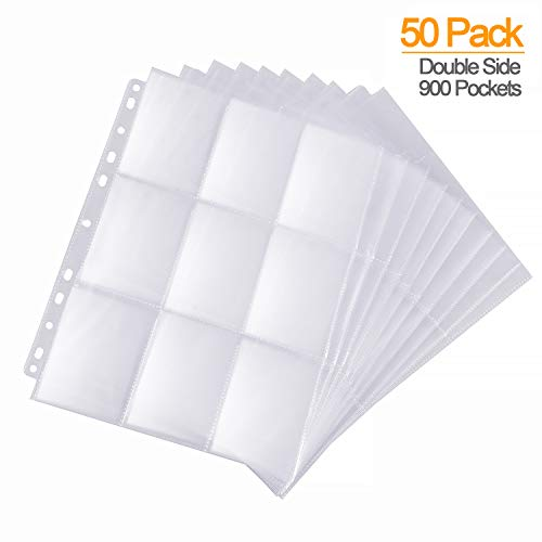 900 Pockets Baseball Card Sleeves, ABLY Double Side 9-Pocket Trading Card Binder Sleeves Page Protectors Sheet for Skylanders, Pokemon, Top Trumps for 3 Ring Binder(50 Pages)