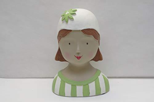 baden import Aufsteller Deko Kopf Frauenkopf Ladykopf mit Streifen und Blumenkappe hellgrün