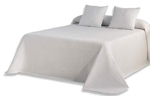 ESTELIA - Colcha Tejida + 2 Fundas de cojín Banús Color Blanco - Cama de 180 cm - 100% algodón
