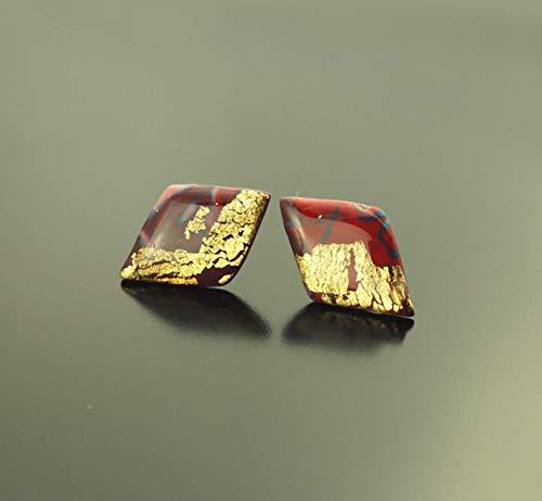 Ohrstecker Crackle Muster Blattgold Raute Drachen rot blau gold Polymer Clay Fimo Ohrringe Stecker Juvelato