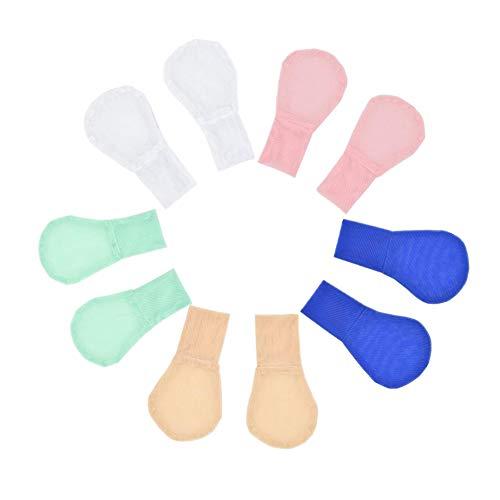 5 pares de guantes unisex de malla suave para bebés, guantes antirayaduras, protección facial transpirable para niños y niñas