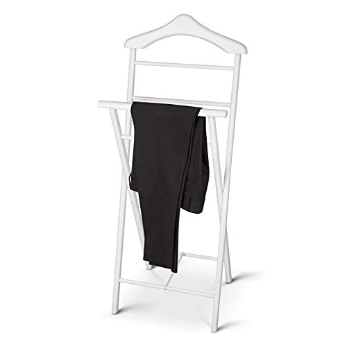 KEHO Herrendiener - Echte Handarbeit - Stummer Diener - Aus Massiv Holz - Kleiderbutler (Weiß)