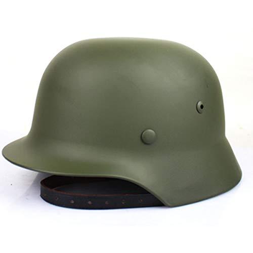 SYLPHID Outdoor WW2 Germany M35 Steel Helmet Stahlhelm World War II German Army Helmet with Leather Liner(Green)