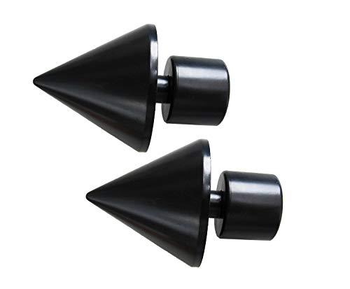 Prodecoshop Endstück Spitze passend für Gardinenstangen/Vorhangstangen Ø 28 mm, 2 Stück (schwarz)