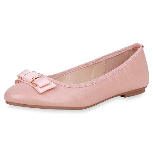 SCARPE VITA Damen Klassische Ballerinas Kroko Slipper Schleife Slip On Schuhe Leder-Optik Freizeitschuhe Flats 191074 Rosa Rose 39
