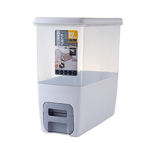 Recipiente Arroz Dispensador Arroz Barril Arroz Dosificación Multifunción Prueba Humedad Dispensador Alimentos Secos Para Almacenamiento Para Almacenamiento Frijoles Cereales-Gray||39.5x37x19.5cm