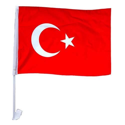 Murago 24 Stück Türkei Autofensterfahne - Türkiye Fahne Türkische Bayrak Fahnen für Auto Deko Flagge Fanartikel