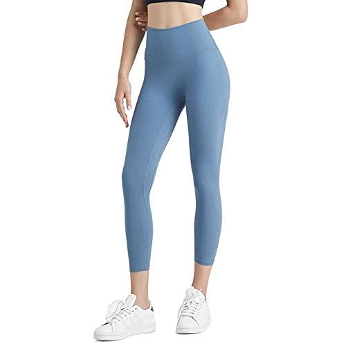 MLLM Pantalones de Yoga Alta Algodón Suave,Pantalones de Yoga de Siete Puntos para Primavera y Verano, Pantalones Deportivos de Cintura Alta-Blue_M,Pilates Fitness Fitness Pantalone