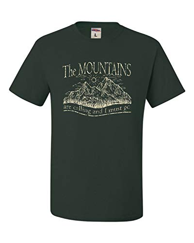 X-Large Forest Green Adult The Mountains are Calling and I Must Go T-Shirt
