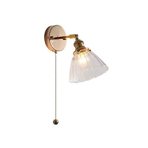 HYLH Lámpara de iluminación de Pared Industrial Vintage Base Dorada con Interruptor de tracción Lámpara de Pared de cabecera Lámpara de Pared con Pantalla de Vidrio Transparente Antiguo Aplique d