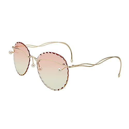 HAOMAO Gafas de sol redondas sin montura de gran tamaño con espejo perlado degradado para mujer 3