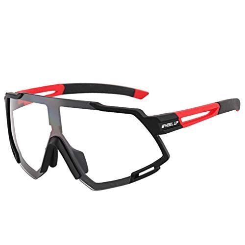 IMIKEYA Meekleurende Zonnebril Kleur Veranderende Lenzen Buitensport Zonnebril Rechthoekige Zonnebril Winddichte Uv-Bescherming Voor Fietsen Rood