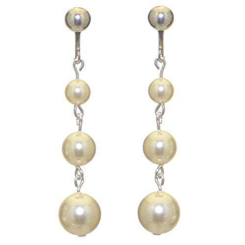 AIBREANN Orecchini a clip goccia perla finto crema placcato argento