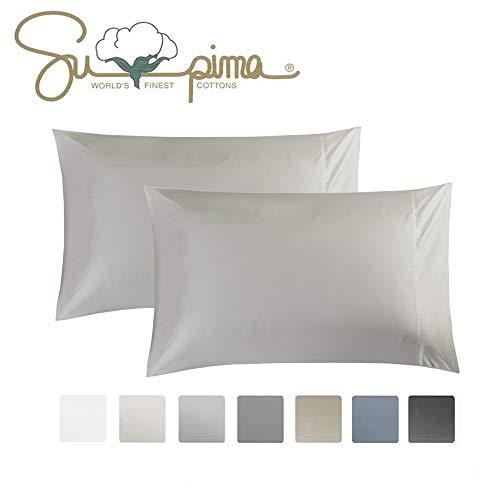 ELINEN Queen Pillowcase Set of 2 Luxury Hotel Pillow Cases 100% Supima Cotton 600 Thread Count Sateen Weave Premium Quality Queen Pillowcase 2 Pieces