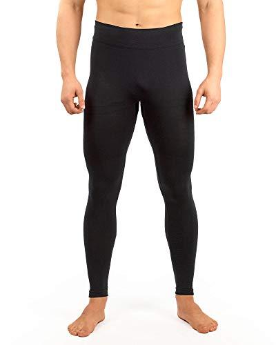 Relaxsan Zero 3000 (Negro, L) Pantalón Térmico Hombre Malla Térmica Ropa Interior en Lana Merino y Fibra Dryarn