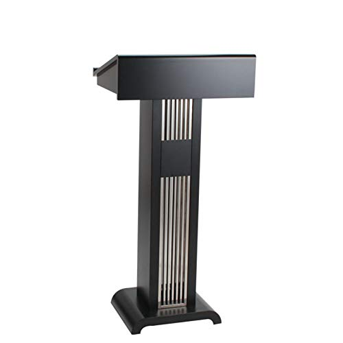 KCCCC Simple Lecterns Desk Reception Restaurant Conference Hotel Classroom Presentation Podium Stainless Steel Podium Pulpit Lectern Office Lecterns (Color : Black, Size : 58x46x121cm)