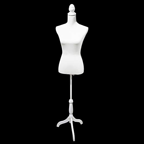 White Female Mannequin Torso Body Dress Form with Adjustable Tripod Stand for Clothes Dress Jewelry Display
