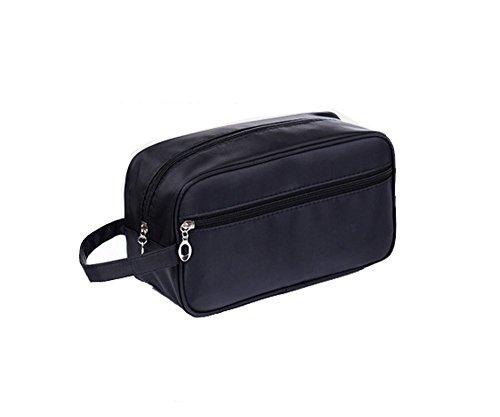 Tumecos-Trousse da viaggio, borsa da viaggio, colore azzurro, con maniglia di trasporto, da barba per uomo Nero nero