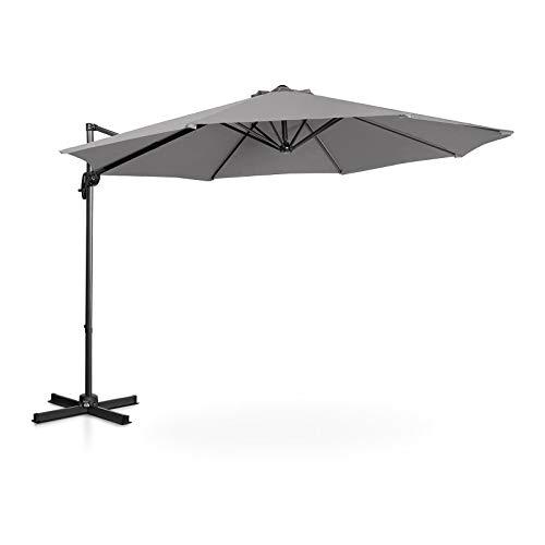Uniprodo Sombrilla Tipo Semáforo Parasol Colgante Uni_Umbrella_2R300DG (Pantalla Redonda, Ø 300 cm, Giratoria, Color Gris Oscuro)