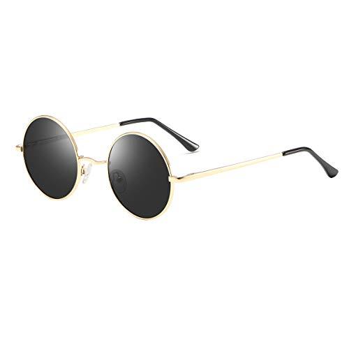 Dollger Retro Lennon Sonnenbrille Vintage Polarisierte Mirrored Linsen Metall Gestell Rundbrille für Herren Damen Schwarze Linse+Goldrahmen