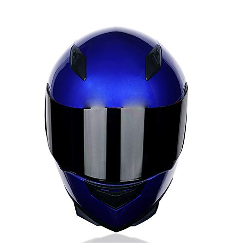 MOTUO Full Face Motorradhelm Integral-Helm Roller Helm Herren Visier Schnellverschluss,Blau,XL