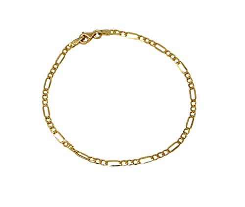 Pulsera de oro amarillo de 18 quilates 750 clásica de cadena con eslabones tres + uno brillante para hombre mujer unisex longitud 19 cm
