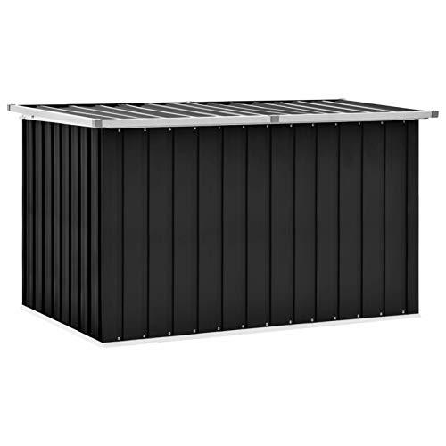 Irfora Gartenbox Garten-Aufbewahrungsbox Gartenbox Metall Kissenbox Aufbewahrungskiste Werkzeugkasten Gartenkasten Anthrazit 149 x 99 x 93 cm