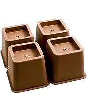 Design61 Meubelverhoger bedverhoging meubelverhoging tafelverhoger olifantenvoet bed riser hoogte ca. 10 cm 4st voor voeten tot 68x68 mm in bruin