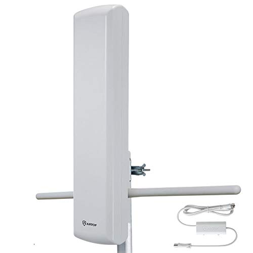 ANTOP 402BV HDTV Flat Panel Amplified Antenna, 75 Miles Long Range High Gain with Rods Enhanced UHF/VHF Reception & 40FT Coaxial Cable - Easy Installation