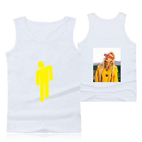 Preisvergleich Produktbild Siskey Billie Eilish Vest, Billie Eilish Printed Casual Short Sleeve Tee Shirt for Music Fans, Billie Eilish Weste Sommer Beiläufige Kurze Hülsen T-Shirts T-Stücke-White