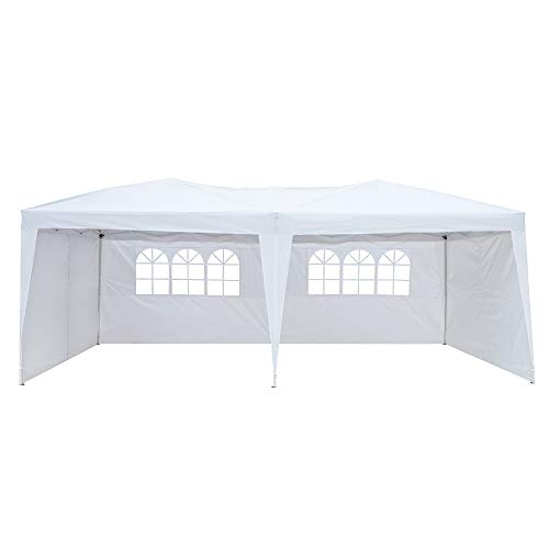 10x20 Ft Easy Pop up Canopy, Waterproof Party Tent, Adjustable Height Outdoor Gazebo w/ 4 Removable Sidewalls & 2 Windows for Patio Backyard Porch Garden Beach, Carry Bag Included (White)