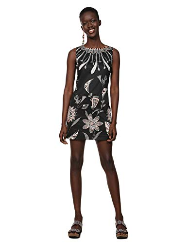 Desigual Damen Dress Sleeveless KIRA Woman Black Kleid, Schwarz (Negro 2000), 40
