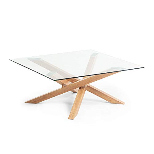 Kave Home - Mesa de Centro Kamido Transparente Cuadrada 90 x 90 cm de Cristal Transparente y Patas de Metal con Efecto Madera