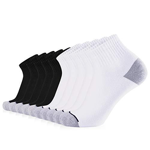 JOURNOW Men's Cotton Moisture Wicking Extra Heavy Cushion Sport Hiking Working Low Cut Socks 10 Pairs(10-13, mix)