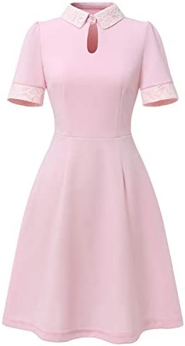 Dressystar Women Vintage 1950s Cocktail Dress Retro Flared Party Dress with Pockets 1968 Pink product image
