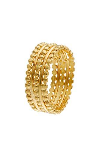 Córdoba Jewels | Sortija en Plata de Ley 925 bañada en Oro. Diseño Bolitas Gold