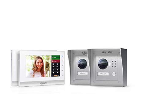 Goliath IP 2-draads video-intercomsysteem, 1,3 megapixel camera, 2 x 7 binnenstation, smartphone mobiele telefoon, intercominstallatie, video-intercominstallatie, 2 x opbouw, buitenstation, eengezinswoning set