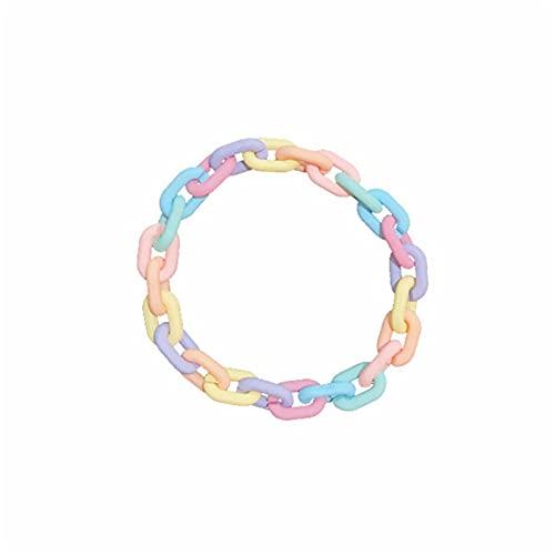 Kaijia Pulsera de acrílico colorido personalidad caramelo cadena regalos para novias
