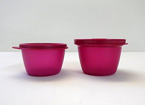 TUPPERWARE Uno Duo Dose Box Vorrat Kühlschrank (2) dunkles pink 150 ml 120 ml