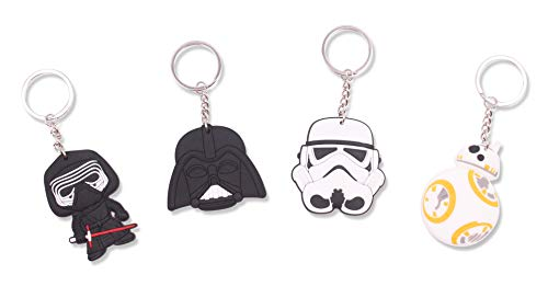Finex Set of 4 Star Wars Keychain for Backpack School Bag Handbag Tote Daypack - Random - Kylo Ren Darth Vader BB8 Stormtrooper