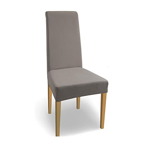 SCHEFFLER-Home Stretch Stuhlhusse Natalie / 4er Set elastische Stuhlabdeckungen aus Baumwolle / Stuhlhussen Schwingstühle / Spannbezug mit Gummiband / Elegante Stuhlbezüge