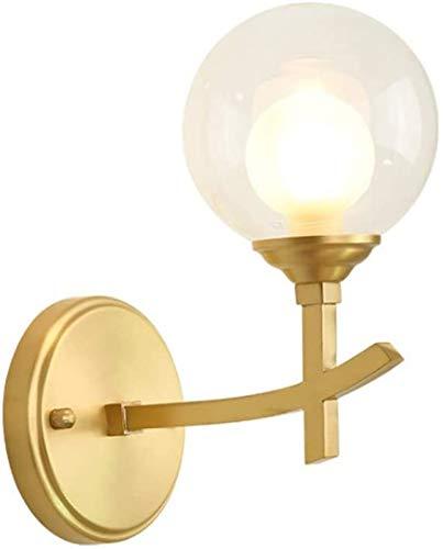 Luz de la pared europea Lámpara de pared simple americana Acabado mate de oro Fondo creativo Mini 9.8 pulgadas EDISON FIXTURE LUZ DE PARED LUZ CON CLEAR GLOBO SHADE Decoración junto a la cabecera for