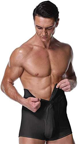 Hcxbb-15 heren tight fit gym shorts - compressiekracht boxershorts met hoge taille shapewear riem stretchbroek met hoge taille ritssluiting ontwerp
