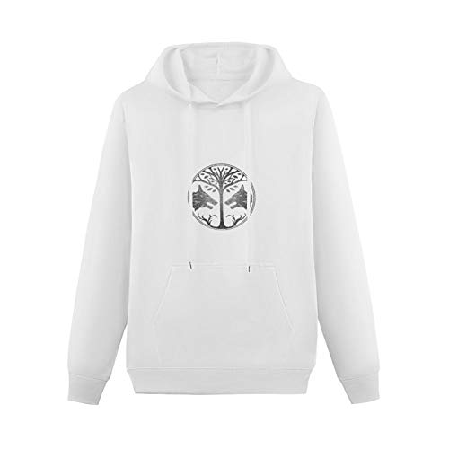 Lightweight Hoodie Pullover Long Sleeve Trunk Candy Destiny Distressed Iron Banner Cotton Blend SweatshirtsWhiteS