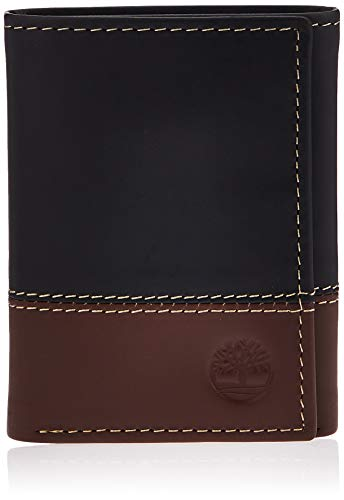 Timberland Men's Leather Trifold Wallet with ID Window, Black/Brown (Hunter), One Size