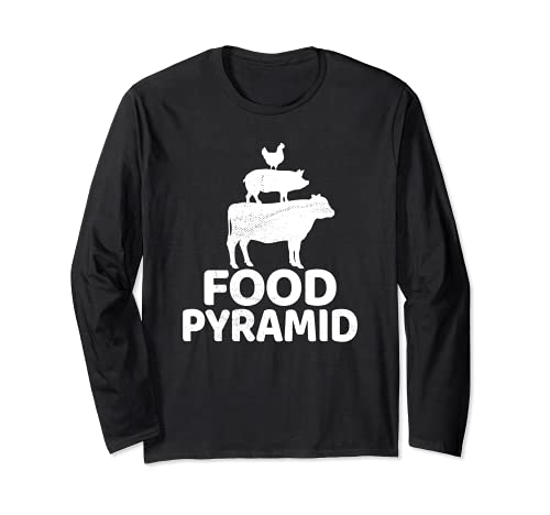 Food Pyramid - Cow Pig Chicken Carnivore Protein Meat Eater Long Sleeve T-Shirt